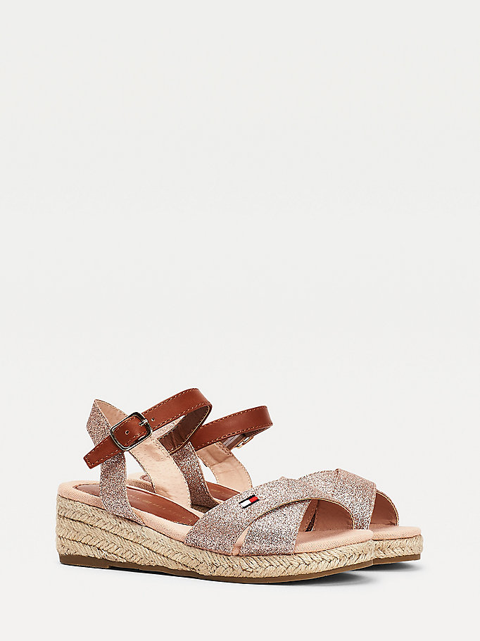 pink glitter strap wedge sandals for girls tommy hilfiger