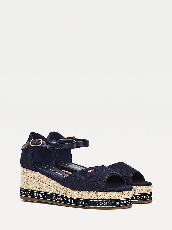 blue repeat logo wedge sandals for girls tommy hilfiger