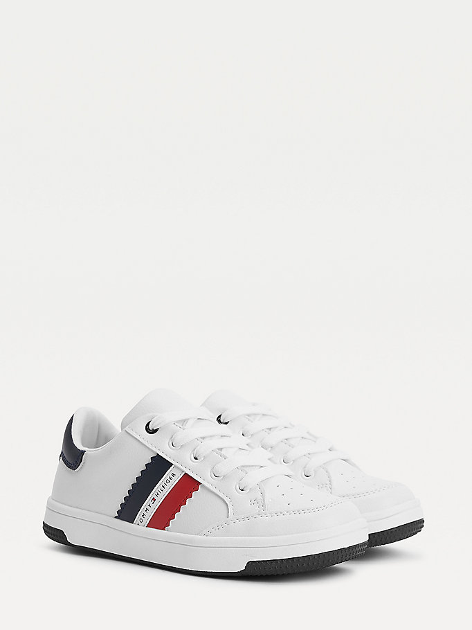 white low-top lace-up trainers for boys tommy hilfiger