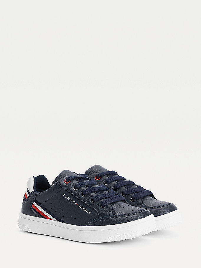 blue signature lace-up trainers for boys tommy hilfiger