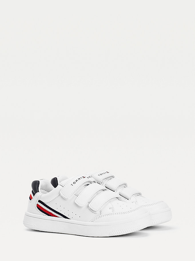 white hook and loop low-top trainers for boys tommy hilfiger