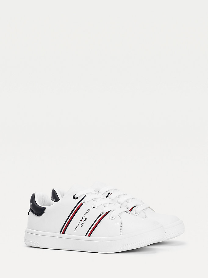 white double stripe trainers for boys tommy hilfiger