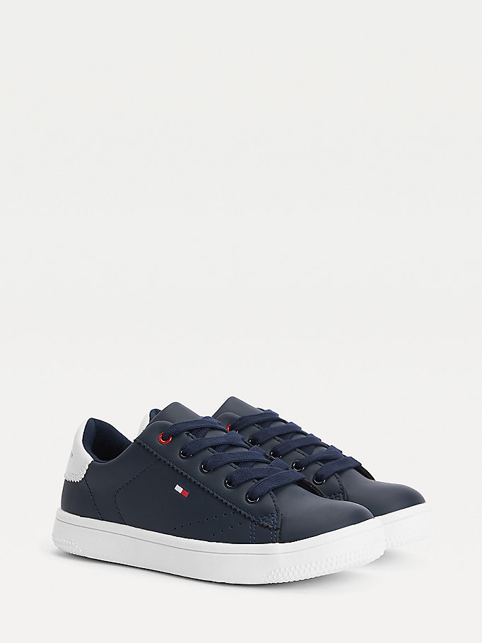 blue contrast sole trainers for boys tommy hilfiger