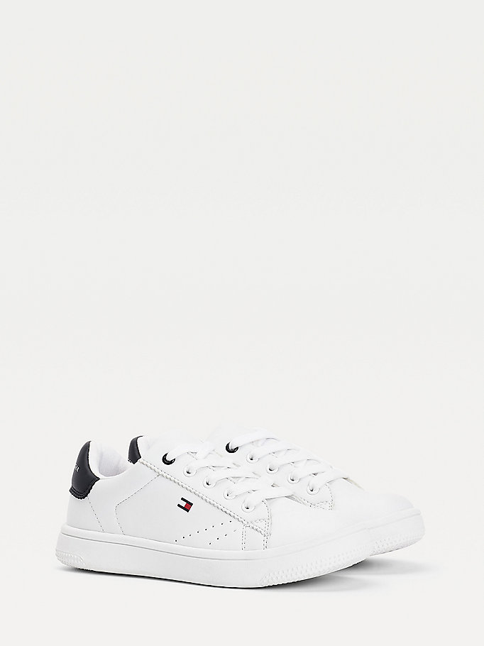 white contrast sole trainers for boys tommy hilfiger