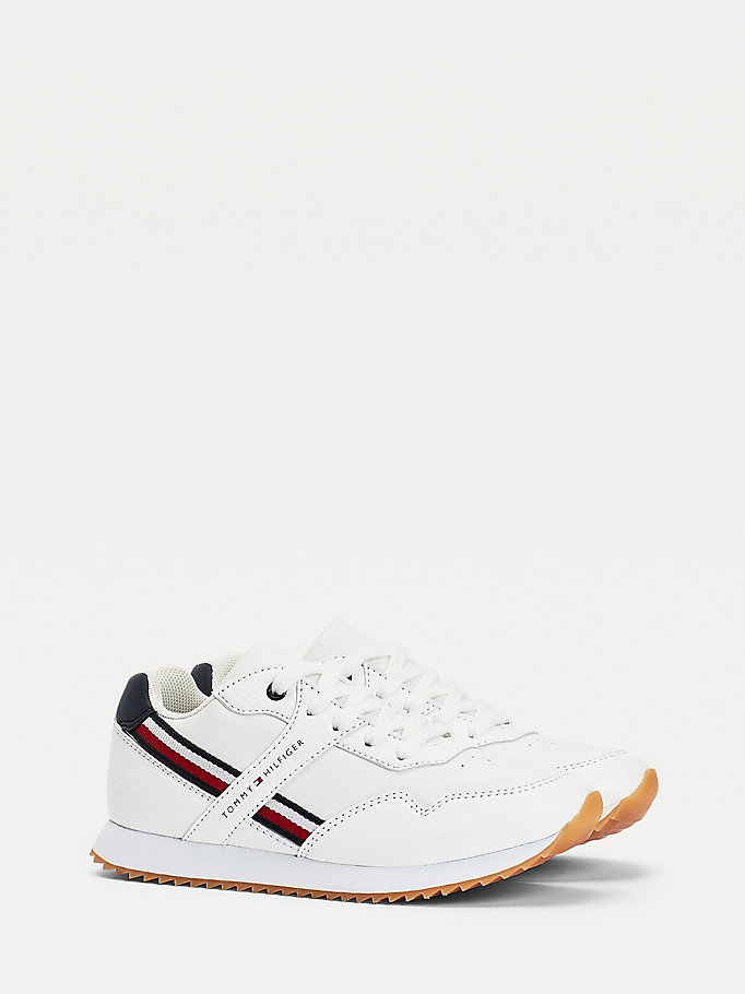 white lace-up trainers for boys tommy hilfiger
