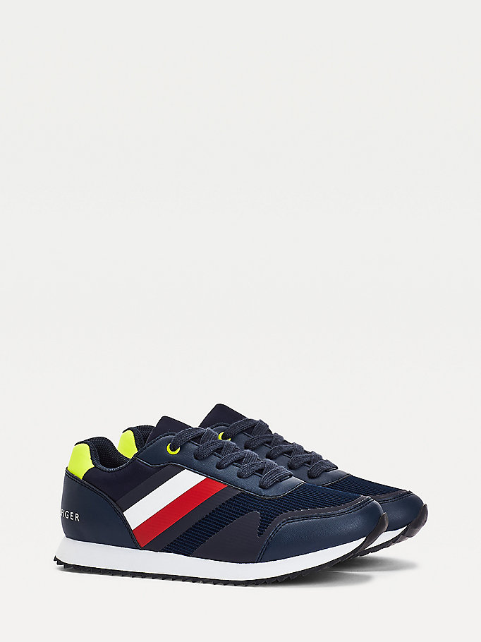 blue fluo detail trainers for boys tommy hilfiger