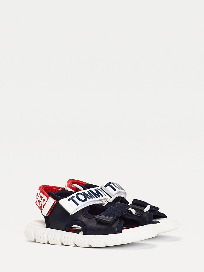 blue contrast hook and loop fastening sandals for boys tommy hilfiger