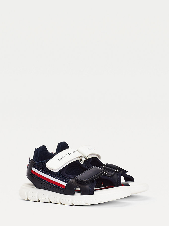 blue stripe hook and loop fastening sandals for boys tommy hilfiger