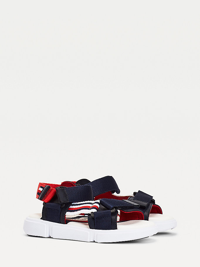 blue adjustable contrast strap sandals for boys tommy hilfiger