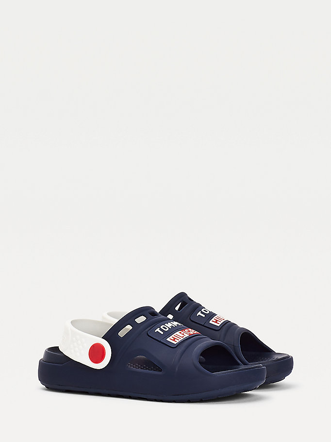 blue cutout rubberised logo sandals for boys tommy hilfiger