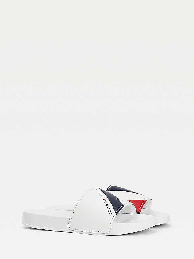 wit badslipper met multicolourstreep voor boys - tommy hilfiger