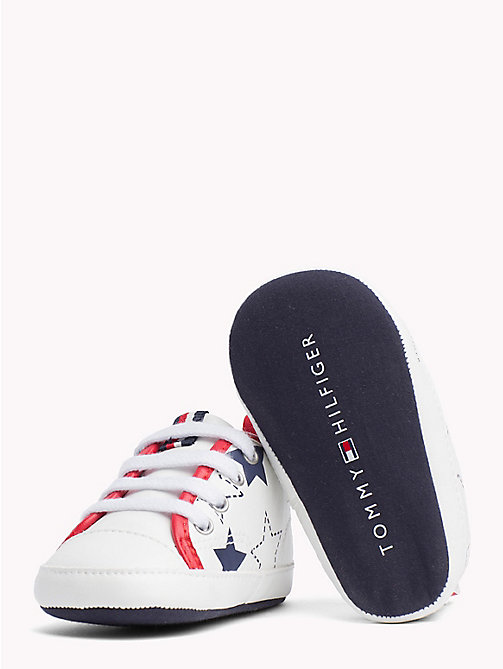 TOMMY HILFIGER Star Print High-Top Trainers - WHITE/BLUE/RED -  Boys - detail image 1