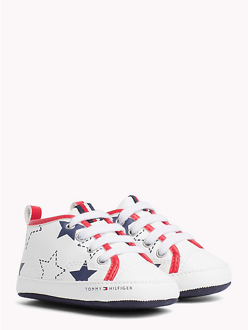 TOMMY HILFIGER Star Print High-Top Trainers - WHITE/BLUE/RED -  Boys - main image