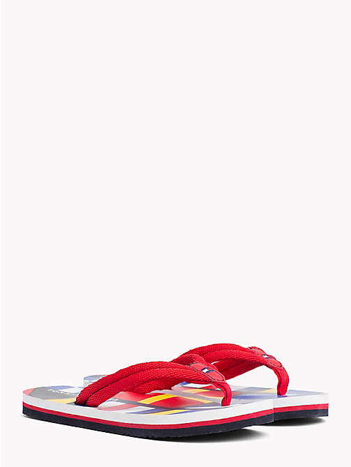 TOMMY HILFIGER Colour-Blocked Flag Flip-Flops - RED - TOMMY HILFIGER Boys - main image