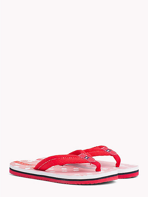 TOMMY HILFIGER Polka Dot Stripe Flip-Flops - RED - TOMMY HILFIGER Girls - main image