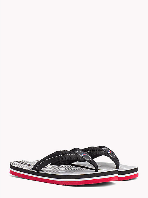 TOMMY HILFIGER Polka Dot Stripe Flip-Flops - BLACK - TOMMY HILFIGER Girls - main image