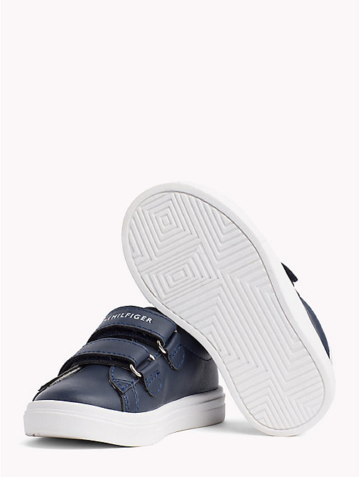 TOMMY HILFIGER Velcro Strap Leather Trainers - BLUE/WHITE - TOMMY HILFIGER Shoes & Accessories - detail image 1
