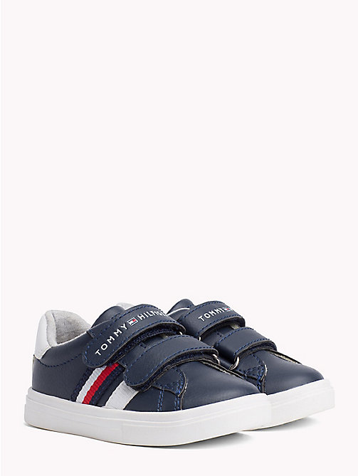 TOMMY HILFIGER Velcro Strap Leather Trainers - BLUE/WHITE - TOMMY HILFIGER Shoes & Accessories - main image
