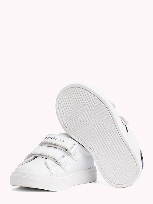 TOMMY HILFIGER Velcro Strap Leather Trainers - WHITE/ BLUE - TOMMY HILFIGER Shoes & Accessories - detail image 1