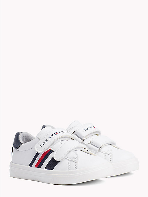 TOMMY HILFIGER Velcro Strap Leather Trainers - WHITE/BLUE - TOMMY HILFIGER Shoes & Accessories - main image