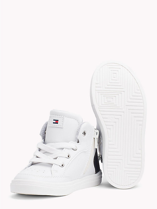 TOMMY HILFIGER High-Top Signature Stripe Trainers - WHITE/ BLUE - TOMMY HILFIGER Shoes & Accessories - detail image 1