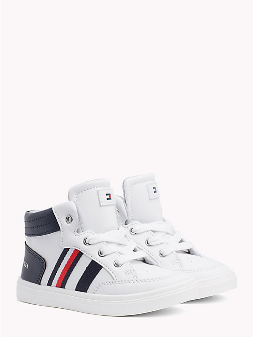 TOMMY HILFIGER High-Top Signature Stripe Trainers - WHITE/BLUE - TOMMY HILFIGER Shoes & Accessories - main image