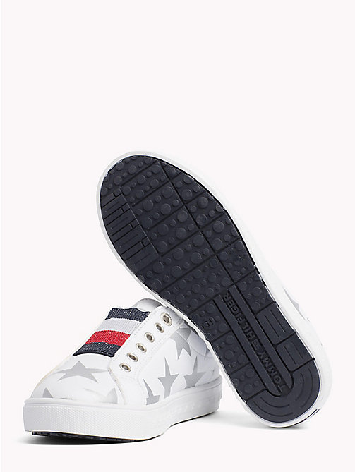 TOMMY HILFIGER Star Print Lace-Up Trainers - WHITE/SILVER - TOMMY HILFIGER Girls - detail image 1