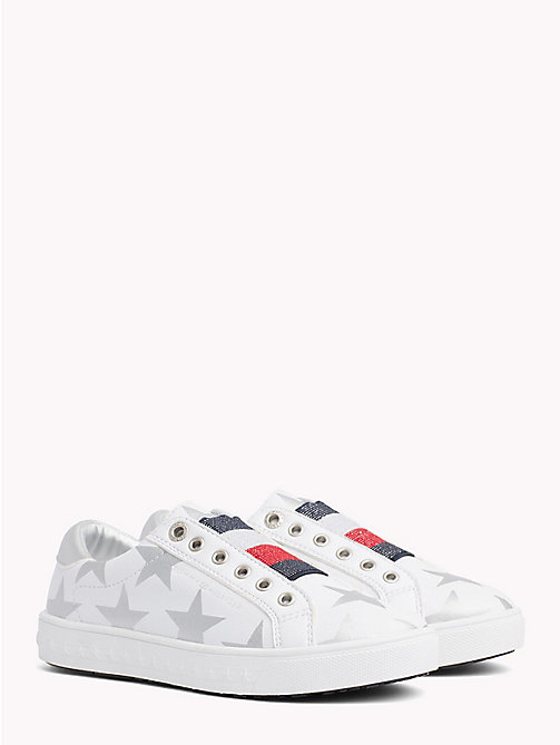 TOMMY HILFIGER Star Print Lace-Up Trainers - WHITE/SILVER - TOMMY HILFIGER Girls - main image