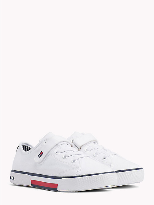 TOMMY HILFIGER Flag Logo Strap Trainers - WHITE - TOMMY HILFIGER Shoes & Accessories - main image
