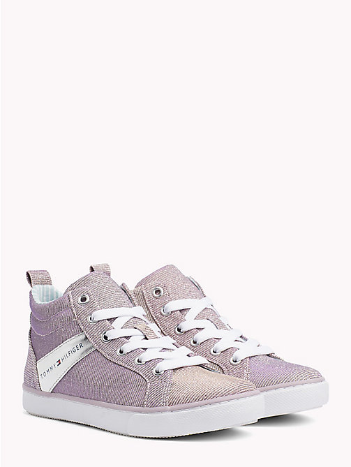 TOMMY HILFIGER High-Top Glitter Trainers - LIGHT PINK - TOMMY HILFIGER Shoes & Accessories - main image