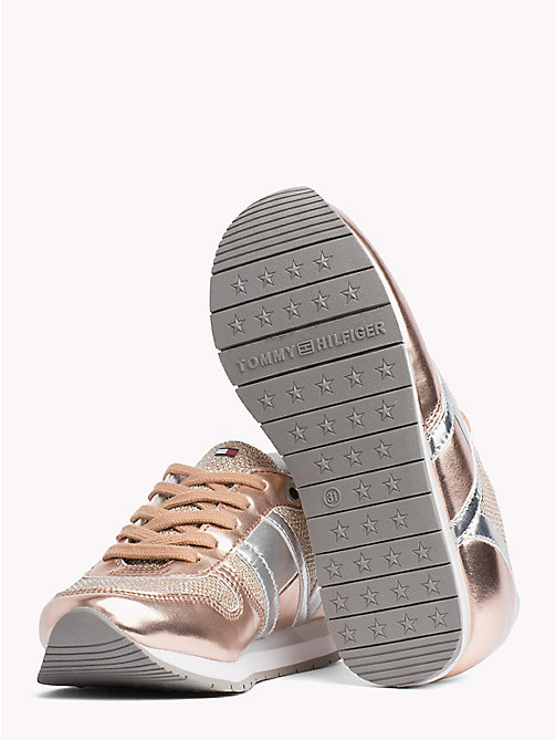 TOMMY HILFIGER Metallic Lace-Up Trainers - PLATED LIGHT PINK - TOMMY HILFIGER Shoes & Accessories - detail image 1