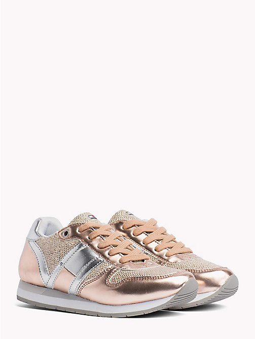 TOMMY HILFIGER Metallic Lace-Up Trainers - PLATED LIGHT PINK - TOMMY HILFIGER Shoes & Accessories - main image