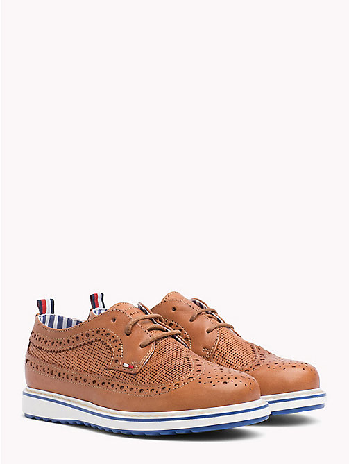 TOMMY HILFIGER Lace-Up Contrast Sole Brogues - BROWN - TOMMY HILFIGER Shoes & Accessories - main image