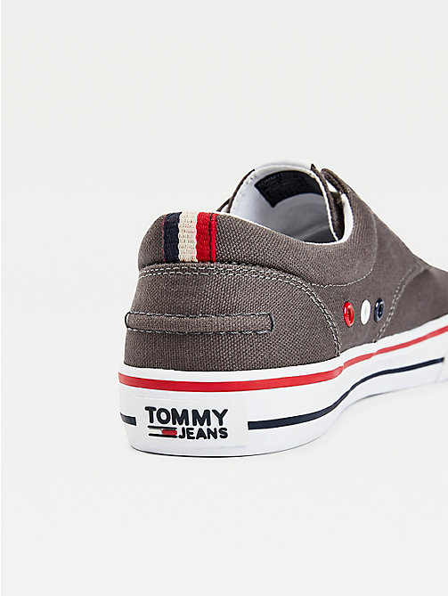 TOMMY JEANS Textile Logo Trainers - STEEL GREY -  Shoes - detail image 1
