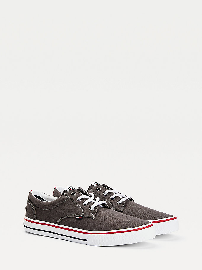 grey cotton low-top trainers for men tommy jeans