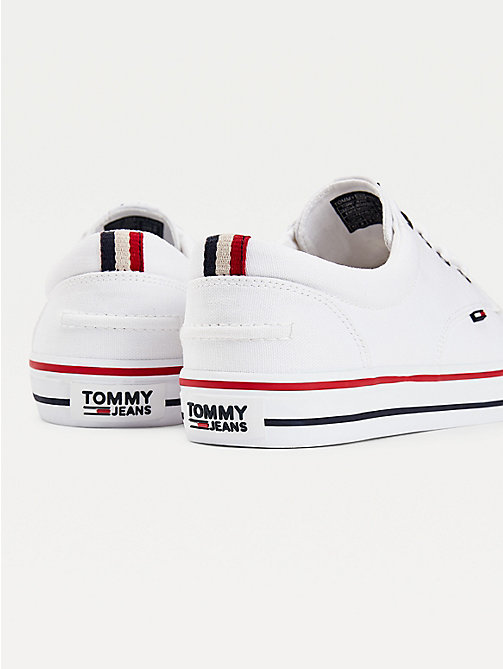 TOMMY HILFIGER Textile Logo Trainers - WHITE - TOMMY JEANS Shoes - detail image 1