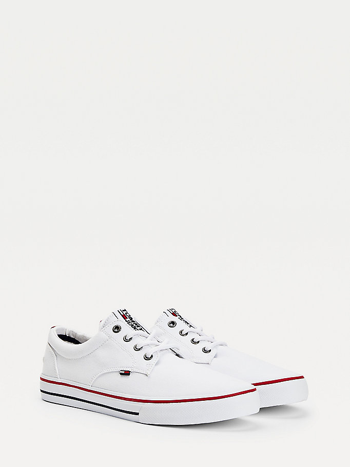 white cotton low-top trainers for men tommy jeans