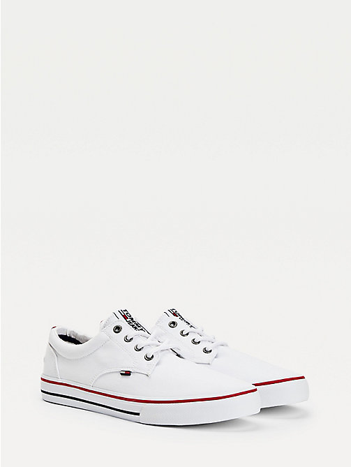 TOMMY JEANS Textile Logo Trainers - WHITE - TOMMY JEANS Tommy Jeans Shoes - main image
