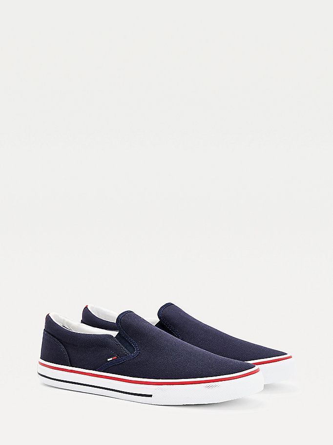 grey cotton slip-on trainers for men tommy jeans