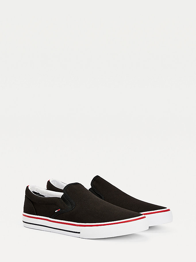 black cotton slip-on trainers for men tommy jeans