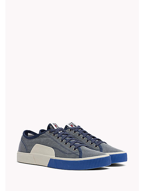 TOMMY HILFIGER Logo Lace-Up Textile Trainers - INK - TOMMY JEANS Shoes - main image