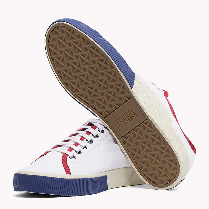 TOMMY JEANS Logo Lace-Up Textile Trainers - JELLY BEAN - TOMMY JEANS Men - detail image 1