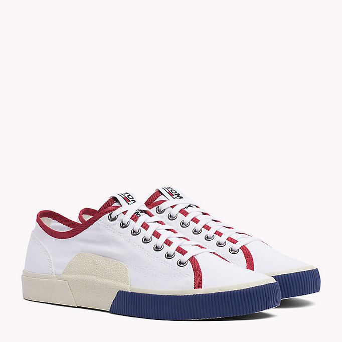 TOMMY JEANS Logo Lace-Up Textile Trainers - JELLY BEAN - TOMMY JEANS Men - main image