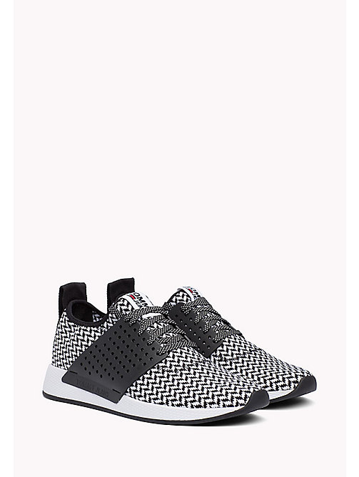 TOMMY JEANS Check Knit Trainers - WHITE-BLACK - TOMMY JEANS Tommy Jeans Shoes - main image