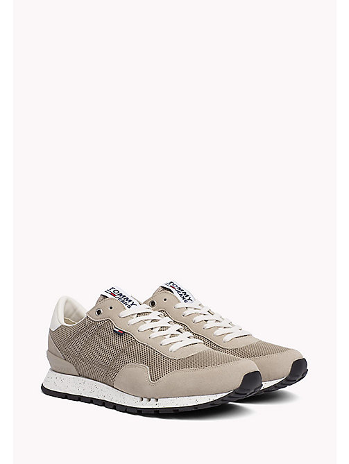 TOMMY JEANS Panelled Mesh Trainers - COBBLESTONE - TOMMY JEANS Tommy Jeans Shoes - main image