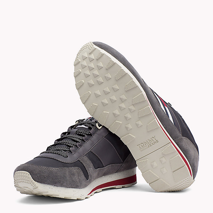 TOMMY JEANS Retro Suede Trainers - DIAMOND GREY - TOMMY JEANS Shoes - detail image 1
