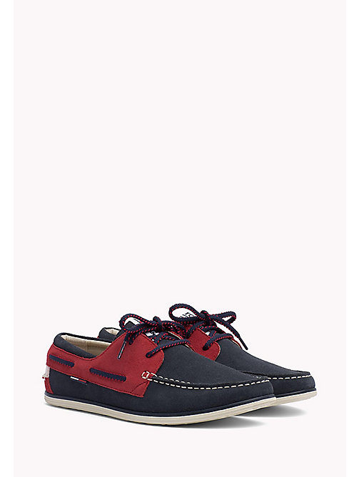 TOMMY JEANS TOMMY JEANS SUEDE BOATSHOE - INK-TANGO RED - TOMMY JEANS Tommy Jeans Shoes - main image