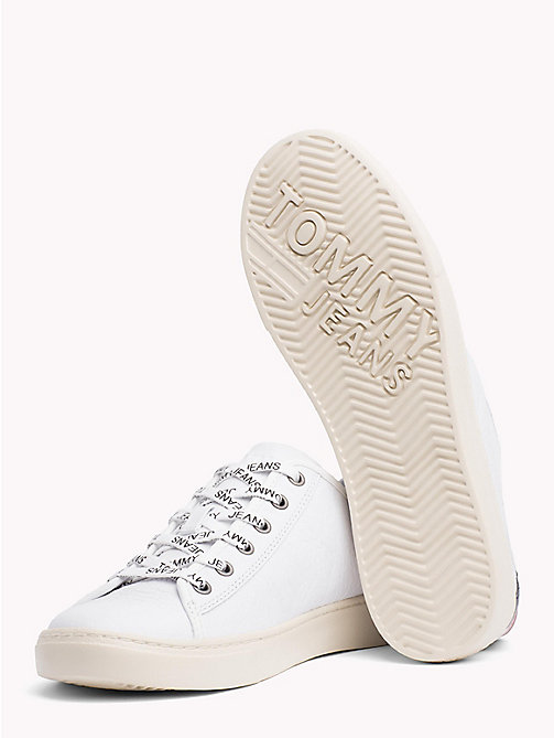 TOMMY JEANS Lightweight Lace-Up Leather Trainers - WHITE - TOMMY JEANS Shoes & Accessories - detail image 1