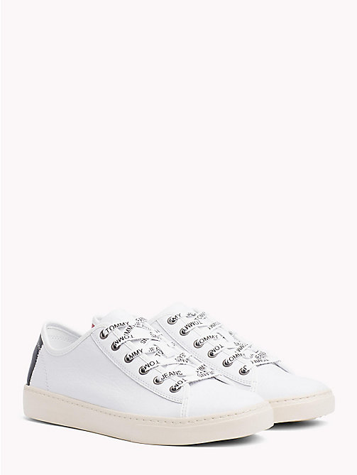 TOMMY JEANS Lightweight Lace-Up Leather Trainers - WHITE - TOMMY JEANS NEW IN - main image