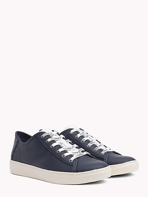 TOMMY JEANS Lightweight Lace-Up Leather Trainers - BLACK IRIS - TOMMY JEANS NEW IN - main image